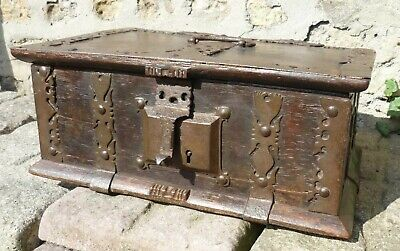 Fine Rare Original 16th Century Iron Bound Oak Chest.