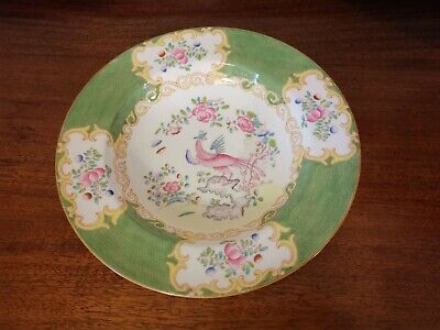 Antique vintage Minton green cockatrice deep rimmed soup plate bowl 25.5cm