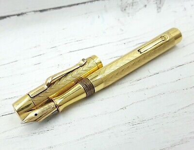 Serviced working 1920s rolled gold 18CT gold nib chevron fountain pen new Sac