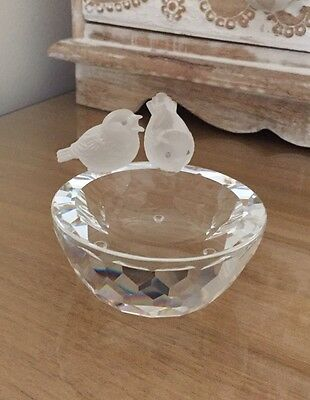 Swarovski Silver Crystal Bird Bath Original Box