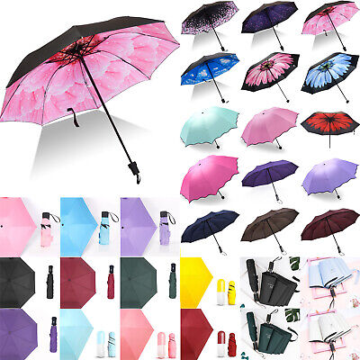 Folding Portable Waterproof Anti-UV Rain Sun Compact Umbrella Parasol Travel UK
