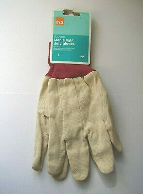 B & Q men's beige/red cotton gardening gloves light duty one size