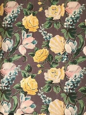 Vintage 1940's curtain panels lot of 3 grey background large pink yellow roses