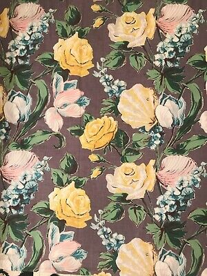 Vintage 1940's curtain panels lot of 2 grey background large pink yellow roses