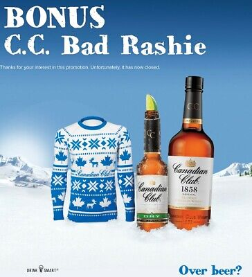 Canadian Club Whisky Bad Sweater Rashie. Genuine CC Merchandise
