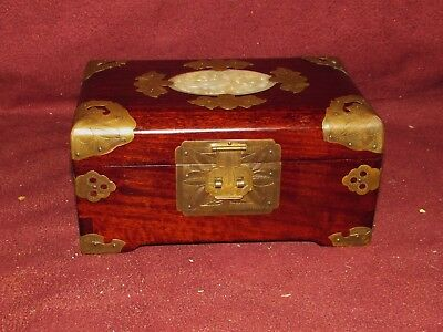Old or Antique Chinese Hardwood Jewelry Box w/ Jade or Stone Inset
