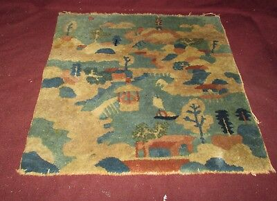 Small Antique Chinese Scenic Rug Carpet