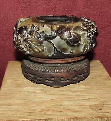 Antique Chinese Soapstone Water Coupe with Carved Wood Base