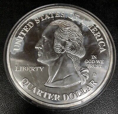 SILVER DOLLAR size 3D PUERTO RICO TERRITORIAL QUARTER Two Sided HIGH RELIEF L@@k