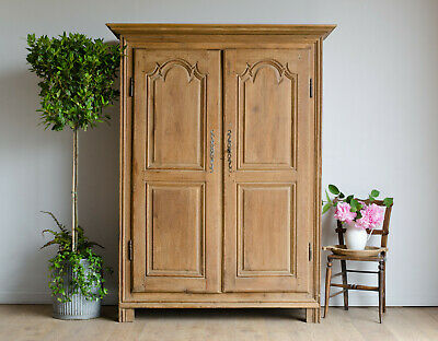 French Antique Carved Oak Knockdown Armoire Wardrobe Linen Press Hanging Rail