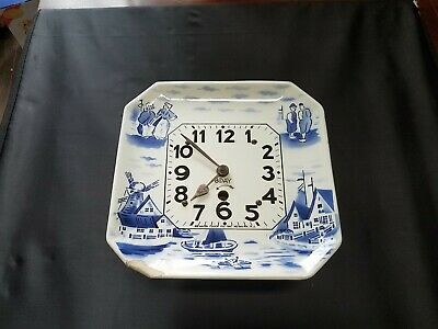 Newark Clock Company 8 Day Windup Clock with Delft Blue/White Face Parts/Repair