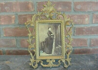 Antique Victorian Era Ornate Cast Iron Cabinet Photo Frame w/ Photo