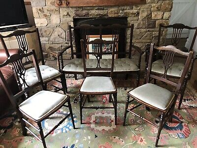 Antique Edwardian Salon Set- Seats 7. Bench, Two Carvers And Three Dining Chairs