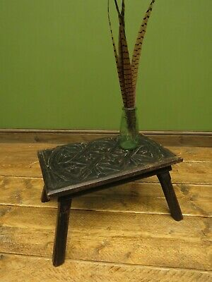 Antique Victorian Ebonised Hand Carved Foot Stool with Crucifom Carvings to top