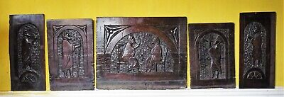 Rare Set 16th Century Carved Walnut Coffer Panels Depicting Moses and Aaron