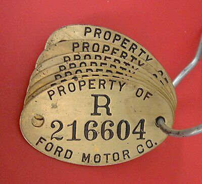 Vintage Brass FORD Auto Factory Property Tag: FORD MOTOR CO Detroit