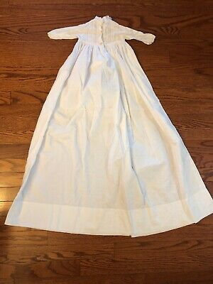 Vintage Antique Christening Gown Long White Cotton Dress Baby Eyelet Trim Baptis