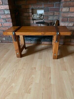 Chunky Rustic/Industrial Solid Wood Bench Side Table Handmade Reclaimed Wood