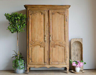 French Antique 18C Carved Oak Knockdown Double Wardrobe Armoire Hanging Rail