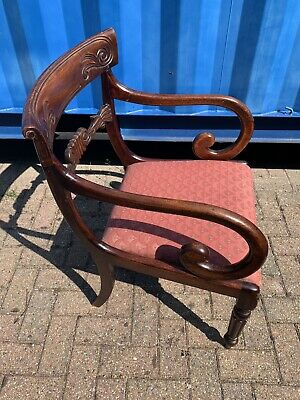 Unusual Good Quality William IV 4th Oak Library Armchair