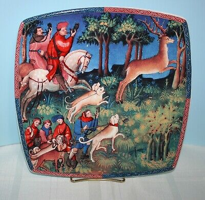 CACCIA ICC Italian Ceramics Company Made in Italy Hunting~Deer~Dogs Square Plate