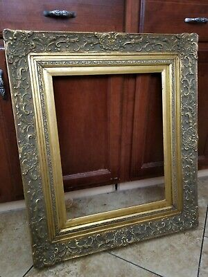 "Antique Gold Gilt Wood Picture Frame Carved Ornate Appliques Floral 16"" by 20"""