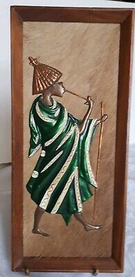 Lovely 1960's Rhodesian Copper/Enamel Relief Image on Hide. Framed Picture. VGC.