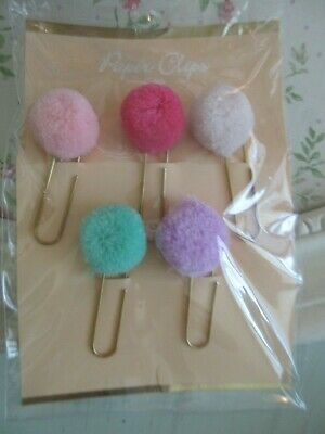 New Pink Green Purple Pom Pom Gold Paper Clips For Agenda Planner Organizer Nip