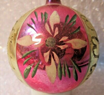 "Antique Vintage Glass Christmas Tree Ornament 3.5"" Pink Stripe Hand Painted Flow"
