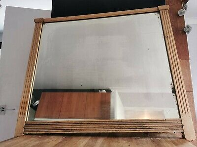 Large Antique Solid Pine Wooden Framed Mirror 30in x 35in