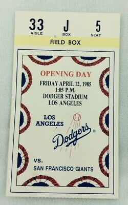 MLB 1985 04/12 SF Giants at LA Dodgers OPENING DAY Ticket Stub-Mike Krukow WP