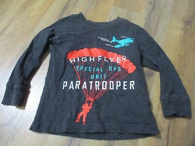Carter's Toddler Boys' Paratrooper Parachute Graphic Tee, 2T, Gray, Distressed