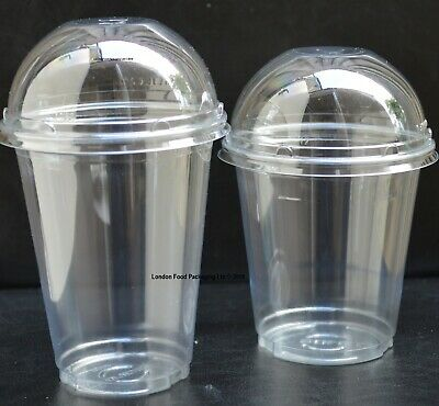 Smoothie-Milkshake-Sweets Cups & Lids 400ml Clear Plastic Domed Slot Lid ** SOLO