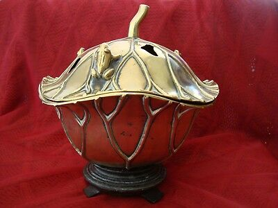 Old Chinese brass Incense Burner / Potpourri Bowl in lotus leaf with frogs