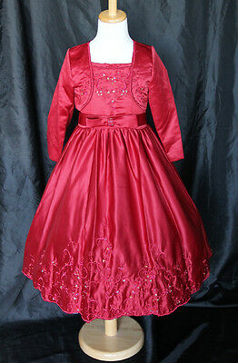Dark Red Girls Flower Girls Bridesmaids Dress Wedding Party Size 2 4 6 8 10