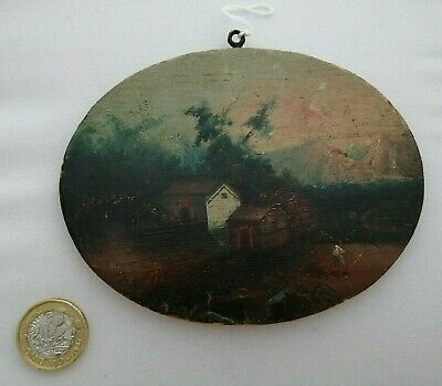 ANTIQUE 19th century MINIATURE OIL PAINTING on wood VERY RARE COLLECTABLE ITEM