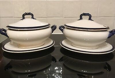A pair 0f Antique Fine China Three Piece blue and white Tureens