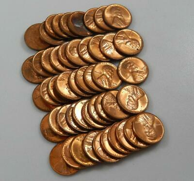 1955-D BU Lincoln Wheat Cent 50 Coin Roll C0637