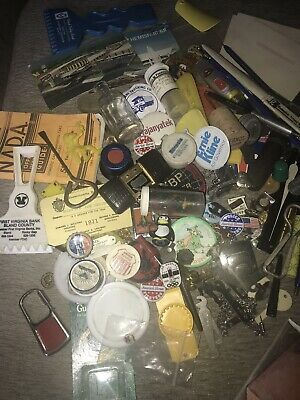 BIG Lot Vintage Junk Drawer Pins Tokens Stamps Collectibles Bric-a-Brac Box Full