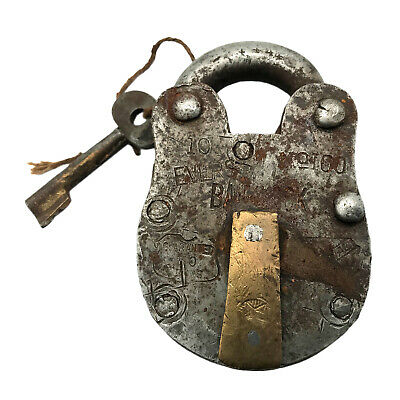 Vintage Padlock & Skeleton Key Working Old Iron & Brass Antique Bank Lock PL04