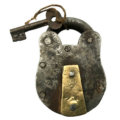 Vintage Padlock & Skeleton Key Working Old Iron & Brass Antique Bank Lock PL05