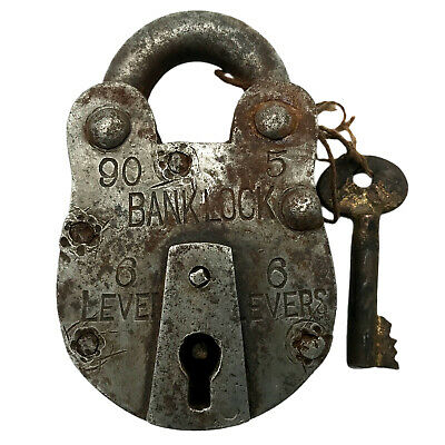 Vintage Padlock & Skeleton Key Working Old Iron Rusty Antique Bankers Lock PL09