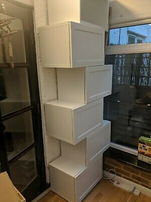 Ikea Besta White Wall Storage Units Cupboards With Doors X 9