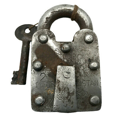 Vintage Padlock & Skeleton Key Working Old Iron Rusty Antique Prison Lock PL12