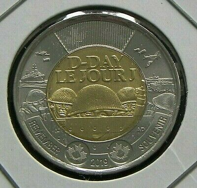 2019 UNC Canada $2 Two Dollar Toonie Remember D-Day Le Jour J