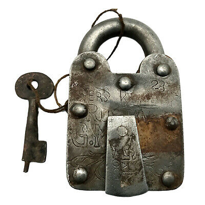 Vintage Padlock & Skeleton Key Working Old Iron Rusty Antique Prison Lock PL19