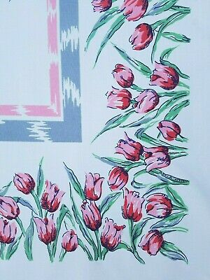 Vintage 1950's Floral PINK TULIPS Screen Print Tablecloth Floral Kitchen ~44x52