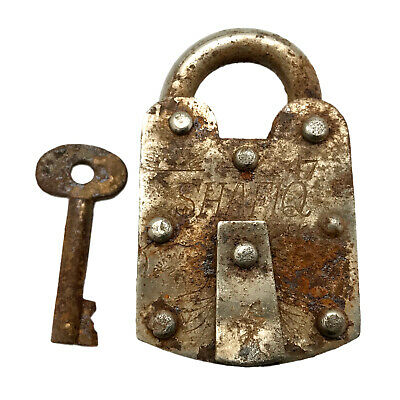 Vintage Padlock & Skeleton Key Working Old Iron Rusty Antique Prison Lock PL42