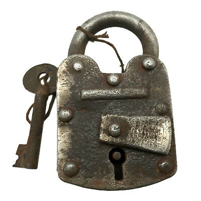 Vintage Padlock & Skeleton Key Working Old Iron Rusty Antique Prison Lock PL51