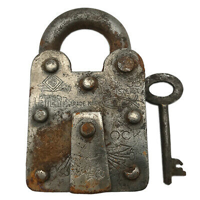 Vintage Padlock & Skeleton Key Working Old Iron Rusty Antique Prison Lock PL58